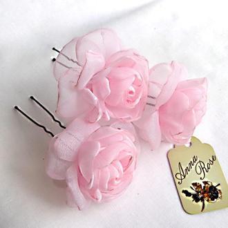 Шпильки для волос  из текстиля Розовые розы