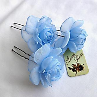 Шпильки для волос  из текстиля Голубые розы