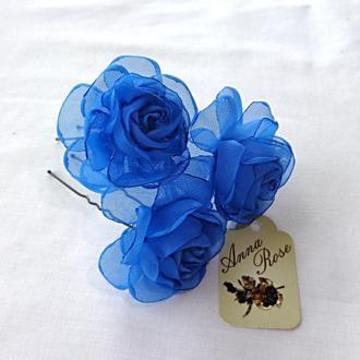 """Шпильки для волос  из ткани """"Синяя чайная роза"""""""