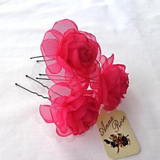 """Шпильки для волосс цветами из ткани """"Чайная малиновая роза"""""""