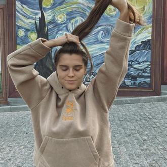 Женский худи бежевый с вышивкой Ван Гог оверсайз на флисе и легкий