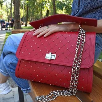 """Женская кожаная сумка """"КРАСОТКА - RED"""""""