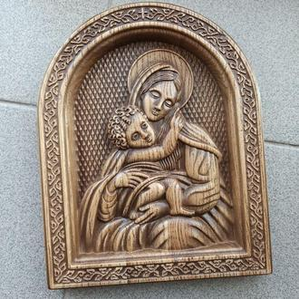 """Икона резная из дерева. """"Богородица"""""""