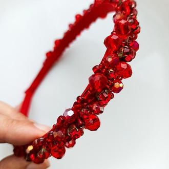 Обруч красний  Червоний вишитий обруч ободок с стразами