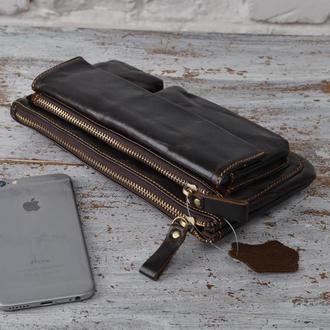 Стильная барсетка-сумка-клатч на пояс, руку.Натуральная кожа