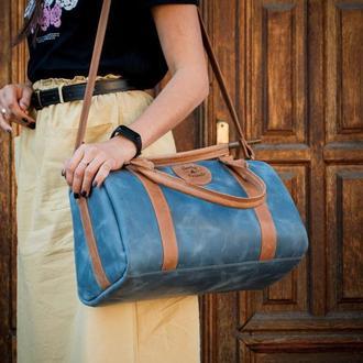 Женская  дорожная - спортивная сумка, Кожаный саквояж, Стильная спортивная сумка