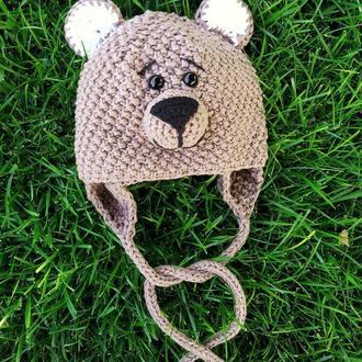 Шапка мишка для малыша, вязаная детская шапка
