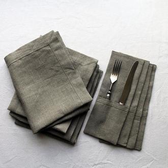 Набор для сервировки стола на 4 персоны из 100% льна, Льняной набор для сервировки стола