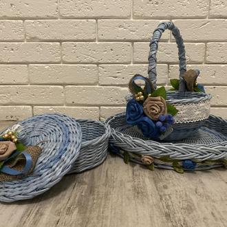 Плетеная корзина, органайзер, набор пасхальный, поднос, конфетница, декор столовый