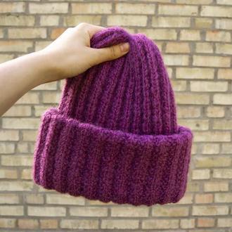 Зимняя женская вязаная шапка из мохера с двойным отворотом