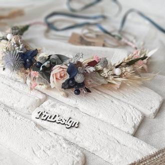 Венок осенний с сухоцветами в синих тонах