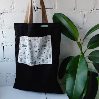 Эко сумка для покупок, эко пакет, черная сумка, еко торба, шоппер 52 (3)