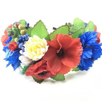 Веночек на голову в украинском стиле Hand made с пышными цветами