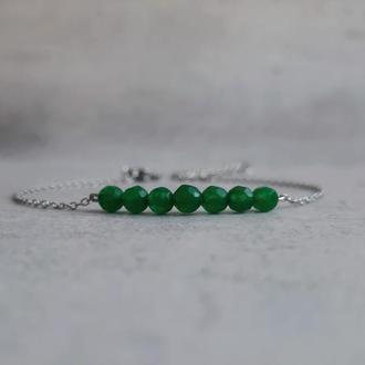 Изящный женский браслет с зеленым хризопразом. Стильный браслет.