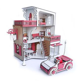 Кукольный Домик DaBo Home для LOL c именем ребенка гаражом мебелью и кабриолетом.