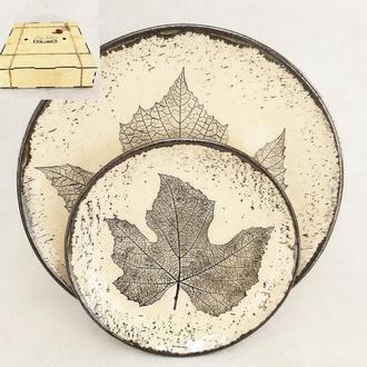Керамический подарочный набор 2 тарелки с узорами в виде листьев,Eco-Friendly упаковка,арт.№69