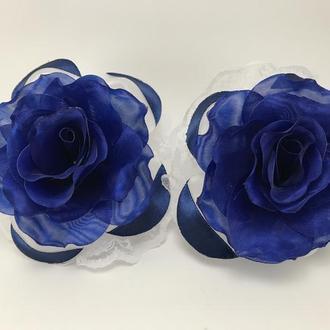 Бант школьный  с синей розой  8 см 2 шт
