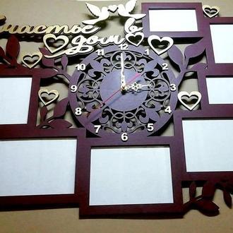 """Фоторамка+ часы """" Счастье в дом"""" 85х60 см на 7 фото."""