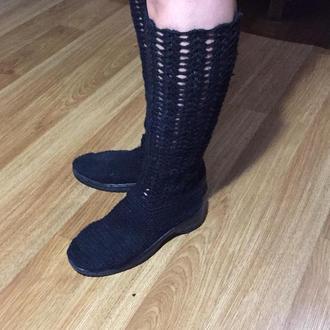 в'язані чобітки літні в'язані жіночі півчобітки чобітки, ручна робота Жіночі в'язані чоботи