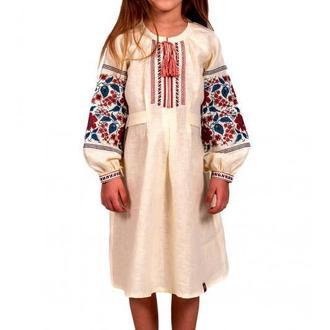 Вышитая льняная платье для девочки (6012)