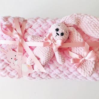 Набор подарочный для детей.Плед и игрушка-Зайка