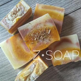 Облепиховое мыло с нуля, с куркумой, эфирным маслом лимона и красной глиной
