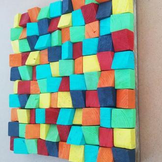 """Абстрактная деревянная мозаика """"Цветочный луг"""""""