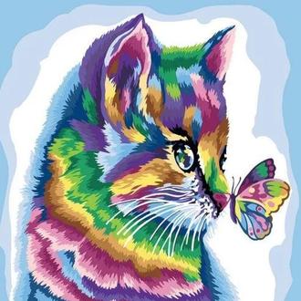 """Картина по номерам """"Радужный котик"""""""