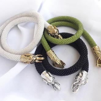 Жгут чокер колье из бисера дракон слон змея питон ожерелье на шею на заказ