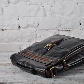 Деловая мужская сумка-мессенджер из натуральной кожи.