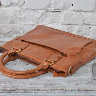 Эксклюзивная и стильная рыжая кожаная мужская сумка