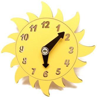 Заготовка для Бизиборда Желтые Часы Солнышко Лучистое Солнце со Стрелками Дерев'яні годинники