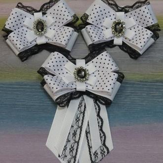 Набор для школы (брошь-галстук и пара резинок)