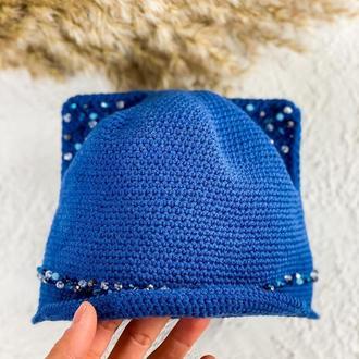 Детская кепка с ушками и камнями