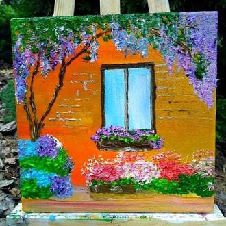 Картина маслом «хатинка з квітами», 20х20