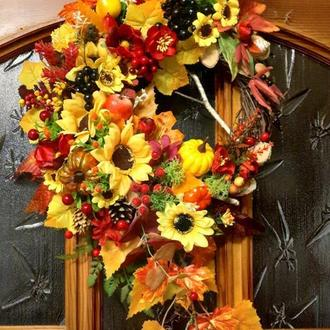 Осенний венок на дверь декор композиция подсвечник осенний венок на дверь