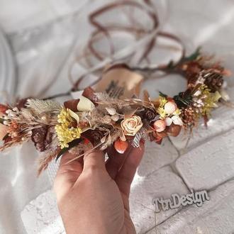 Венок осенний на голову из сухоцветами