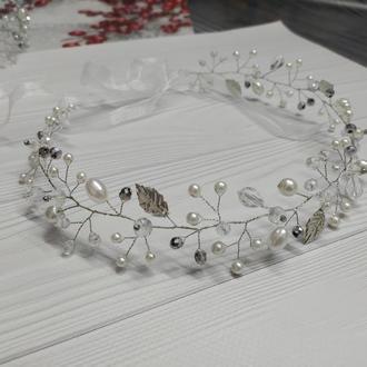 Свадебное украшение венок из бусин віночок на перше причастя