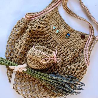 Авоська из джута, джутовая сумка, мешочек из джута