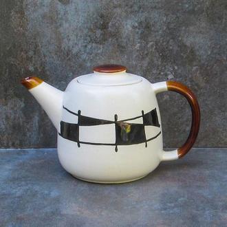 """Чайник Лійка декор """"Галаретка"""" чорно-білий"""