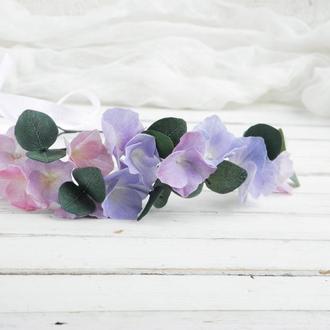 Венок с цветами в прическу невесте / Цветочный венок с гортензией для волос