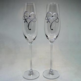 Келихи для шампанського з посрібленими серцями (арт. S20)