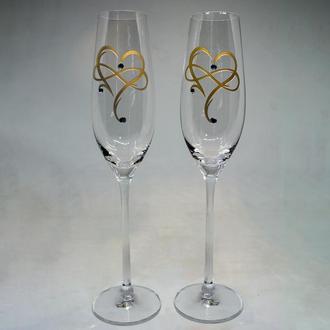 Келихи для шампанського з позолоченими серцями (арт. S21)