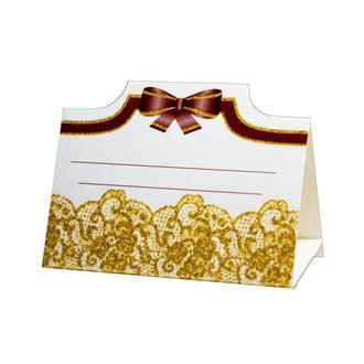 Рассадочная карточка с золотыми узорами (арт. PC-16)