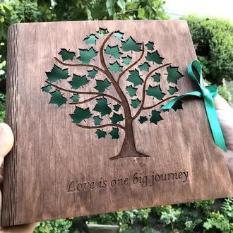 Свадебный фотоальбом, альбом для фотографий, деревянный альбом с гравировкой, именной альбом