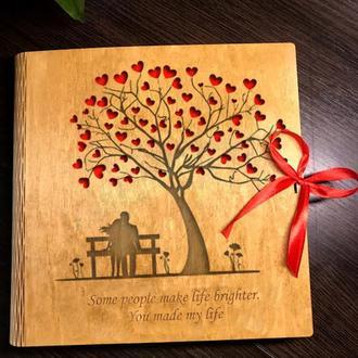 Свадебный альбом из дерева, фотоальбом, подарок на свадьбу, именной альбом с гравировкой, подарок