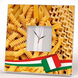 """Стильные часы с фото """"Разные виды итальянской пасты"""" для кухни, кафе, бара, ресторана"""