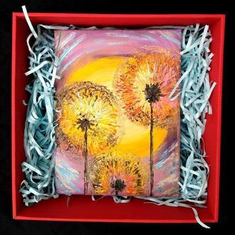 Картина маслом «Три кульбаби» 18х24, в подарунковій коробці