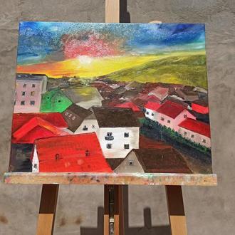Картина маслом «Город», 40х50