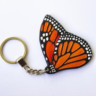 Кожаный брелок бабочка